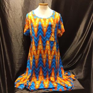 XL LLR Cary Aztec Print Blue, Yellow & Orange